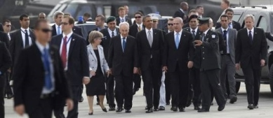 U.S. President Barack Obama participates in a farewell ceremony at Tel Aviv International Airport